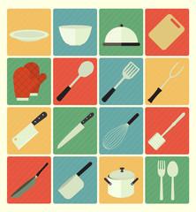 flat icons kitchen set