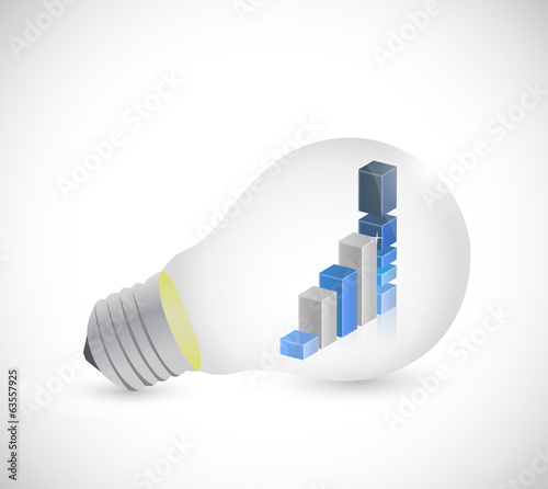 business graph inside a light bulb. illustration