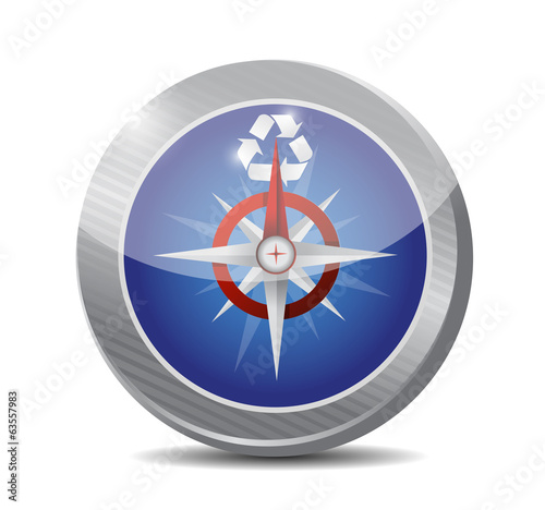 compass and recycle symbol. illustration