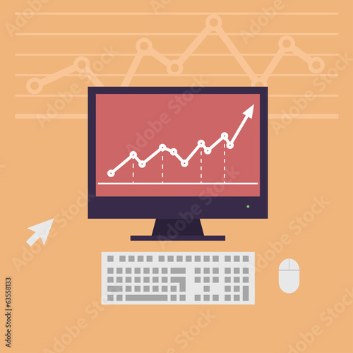 monitor, workstation desk vector illustration