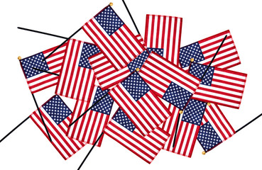 Miniature American flags in layers on white background