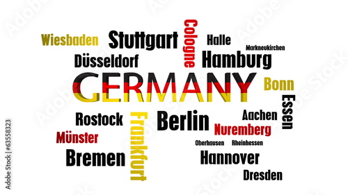 Germany Cities Word Cloud on White