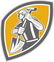Construction Worker Digging Shovel Retro
