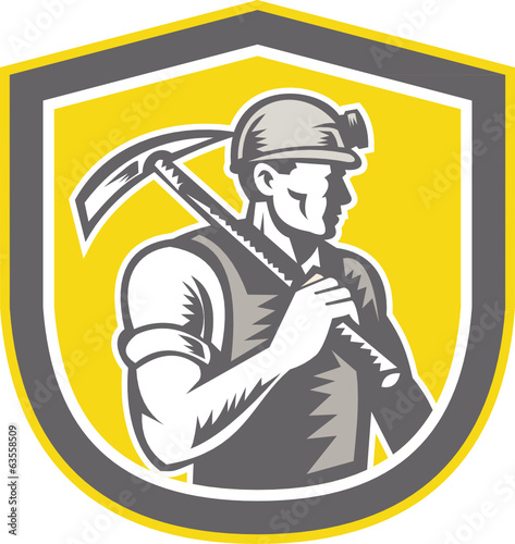 Coal Miner Pick Axe Shield Retro