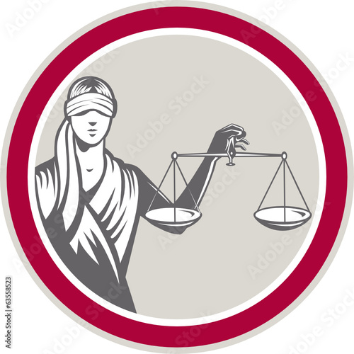 Lady Blindfolded Holding Scales Justice Circle
