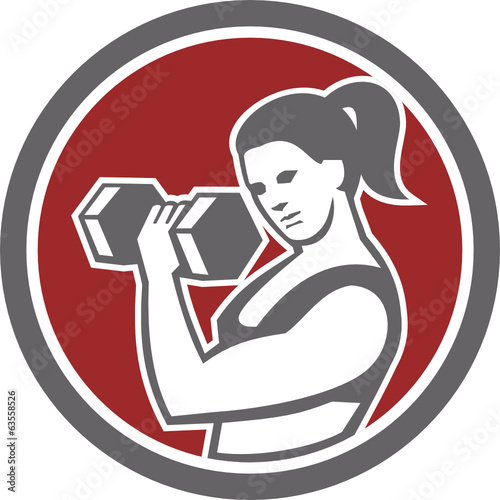 Female Lifting Dumbbell Fitness Circle