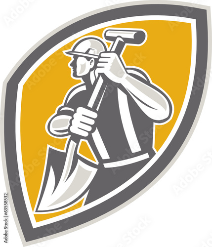 Construction Worker Digging Shovel Retro