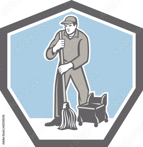 Cleaner Janitor Mopping Floor Retro Shield