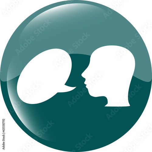 Human head shape with blank dialog cloud web icon