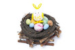 nest with Easter eggs and rabbit, isolated
