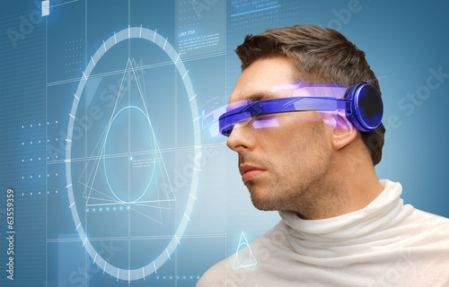 handsome man with futuristic glasses