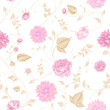 Seamless texture of pink roses for textiles