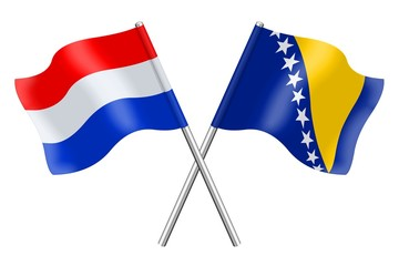 Flags: the Netherlands and Bosnia-Herzegovina