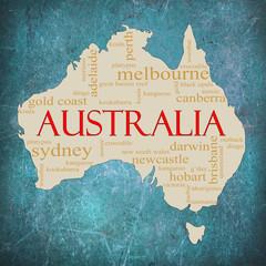 Blue Grunge Australia word cloud