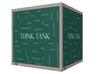 Think Tank Word Cloud Concept on a 3D cube Blackboard