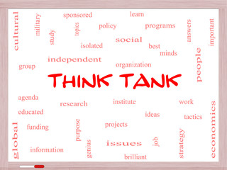 Think Tank Word Cloud Concept on a Whiteboard