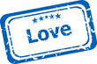 grunge rubber stamp with the word love written inside the stamp