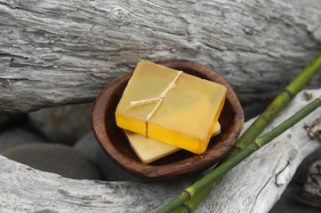 soap with thin bamboo grove on driftwood texture