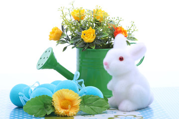 Easter decoration with white bunny