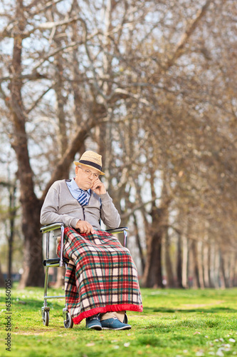 Displeased senior sitting in a wheelchair in park