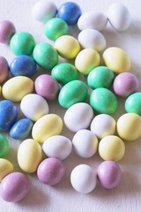 Pastel chocolate candy eggs