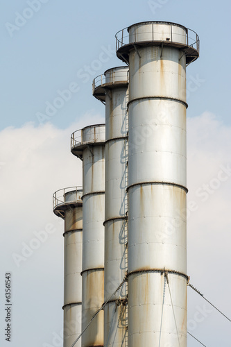 Coal Power Plant Towers Against Blue Sky