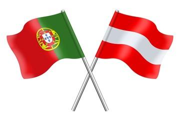 Fahnen: Österreich und Portugal