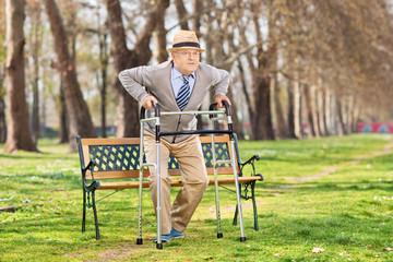 Senior gentleman with walker in the park