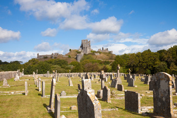 Ruins of Corfe Castle, Dorset, England, from a cemetery