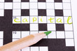 Crossword puzzle close-up