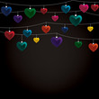 String of Valentine baubles card in vector format.