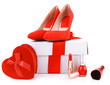 Beautiful red female shoes, gift box and cosmetics, isolated