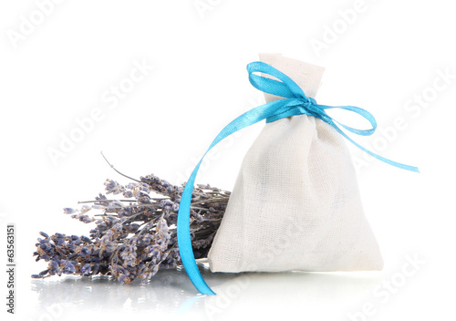 Textile sachet pouch with dried lavender flowers isolated