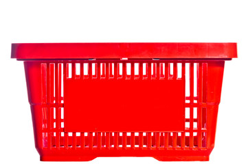 empty red basket from the supermarket