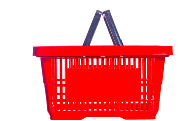 empty plastic shopping basket on a white background