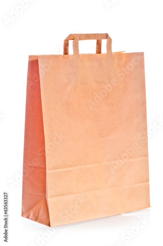 shopping bag of brown paper on white background