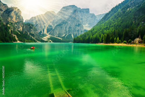 Braies lake and Dolomites,South Tyrol,Italy
