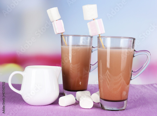 Hot chocolate with marshmallows, on light background