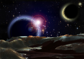 View to open space from surface of a planet