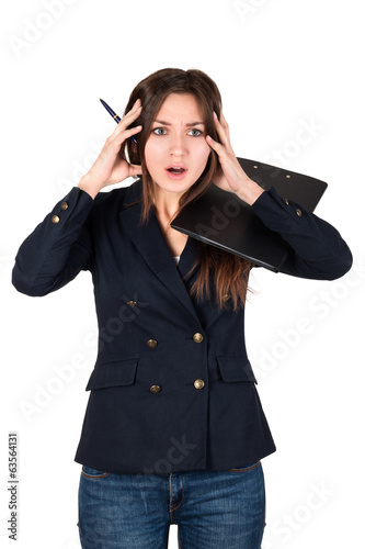 Young business woman stressed at work