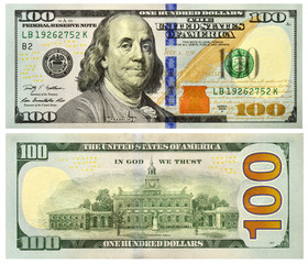 Hundred redesigned american dollars