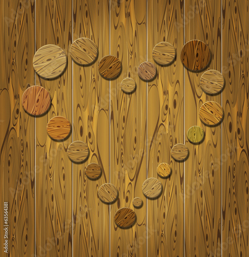 Wooden heart on wooden background