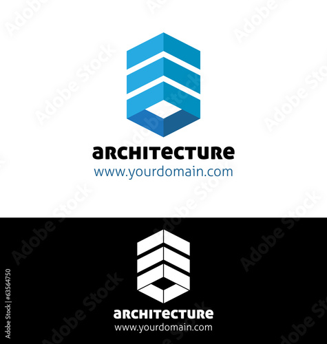 Blue architecture logo template