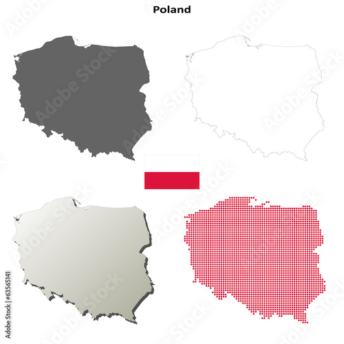 Blank detailed contour maps of Poland