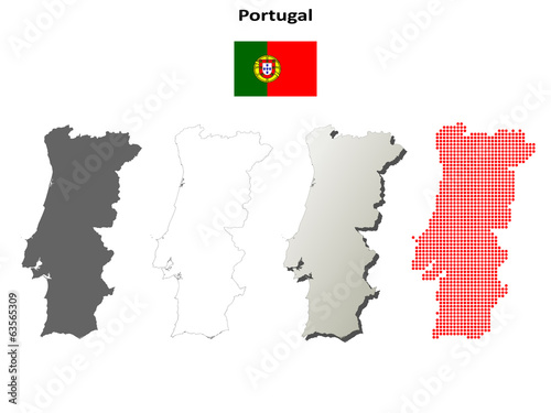 Blank detailed contour maps of Portugal