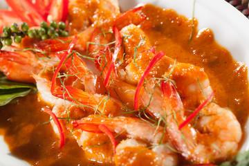 thai food, Thai food shrimp in spicy herb coconut milk sauce