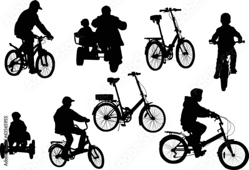 set of eight bicycles isolated on white background