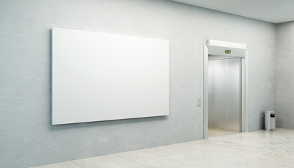 blank picture in the elevator's hall
