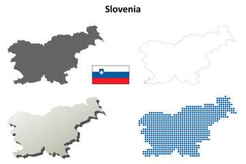 Blank detailed contour maps of Slovenia