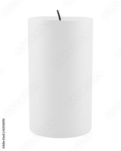 one candle isolated on white background